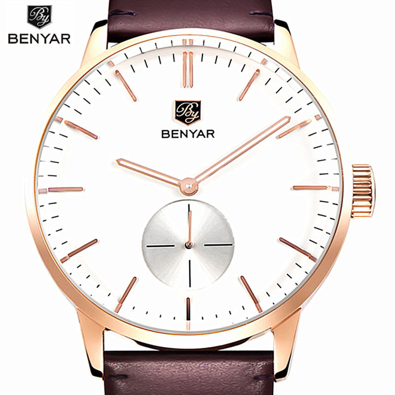 Benyar Top Brand Luxury cuarzo hombres de negocios casual negro reloj - Relojes para hombres