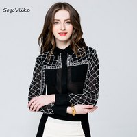 2017 Sexy Perspective Beading Blouse Female Luxury All Match Crystal Pearls Geometric Shirt European Style Women