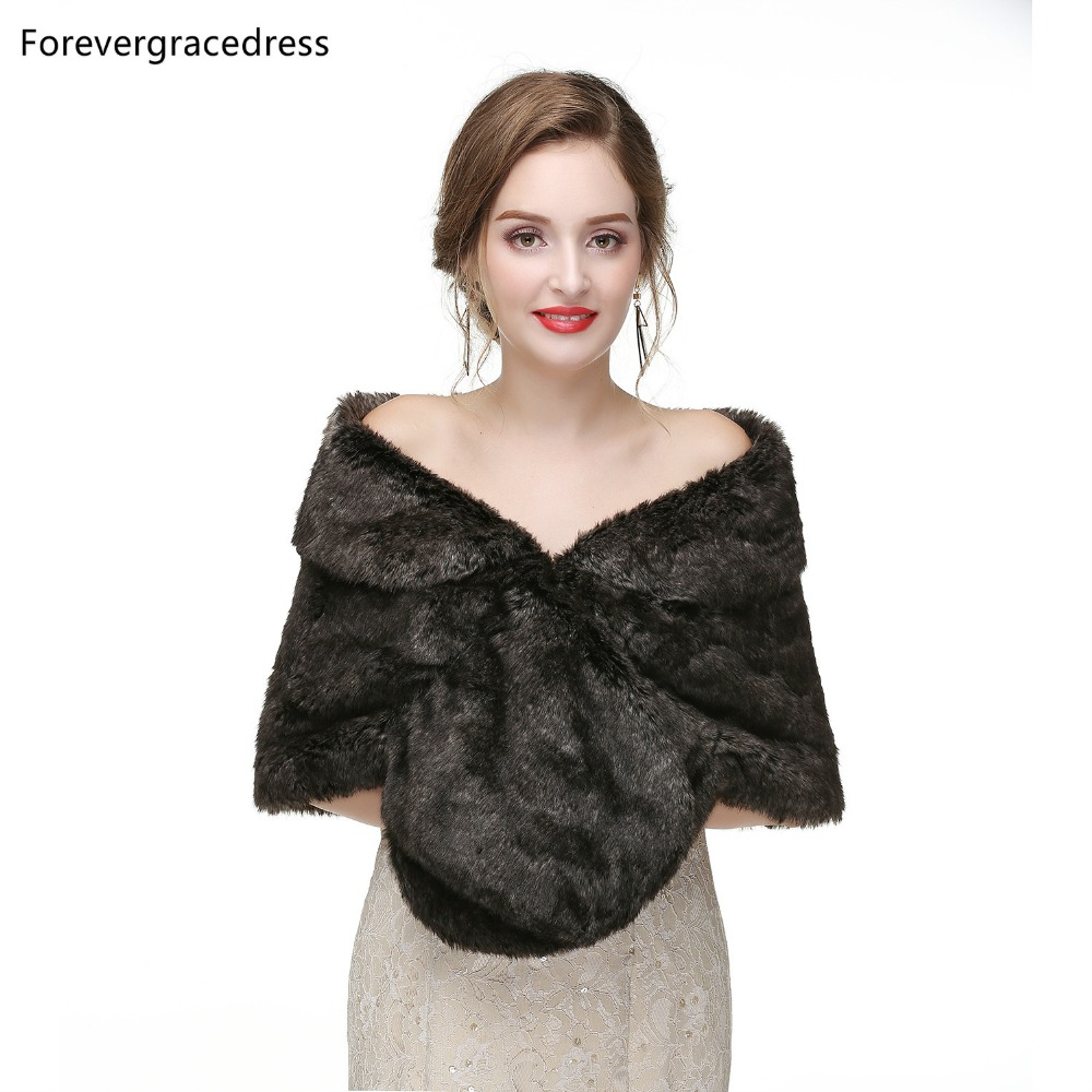 Forevergracedress 2019 Elegant Soft Autumn Winter Faux Fur Bride Wedding Wraps Bolero Jackets Bridal Coats Shawls Scarves PJ430