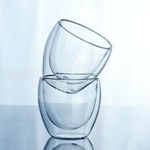 ГОРЯЧАЯ двойными стенками чашка кофе стекло чай Кружка Изолированные Кружки эспрессо чашки Безопасный Удобный вино пиво стекло
