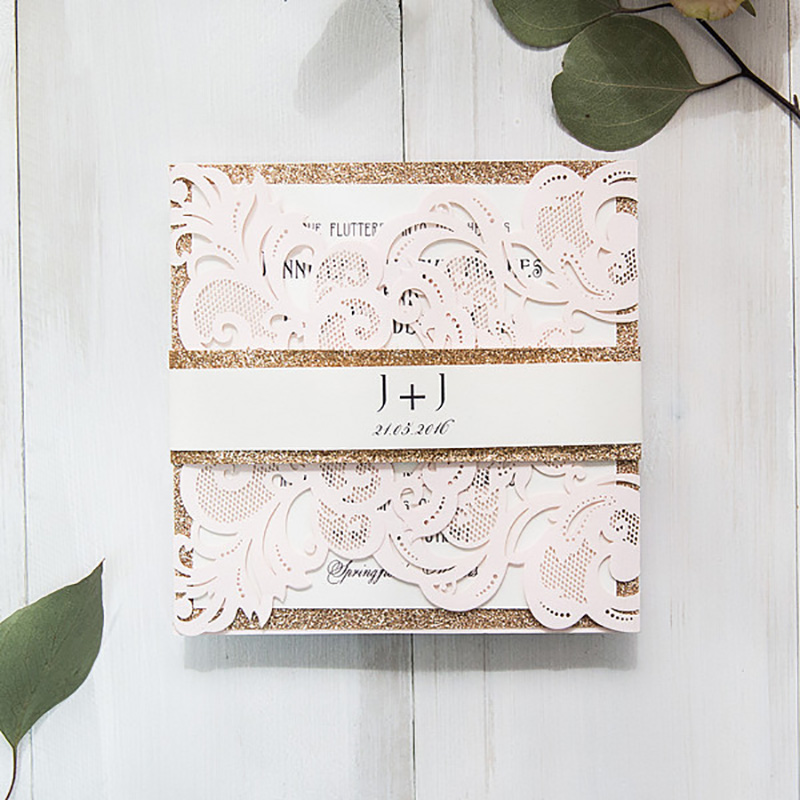 Simple 10 Set Cheap Wholesale Flower Lace Invitations For Wedding Cards Print Blank Insert Paper Party RSVP Design Personalise