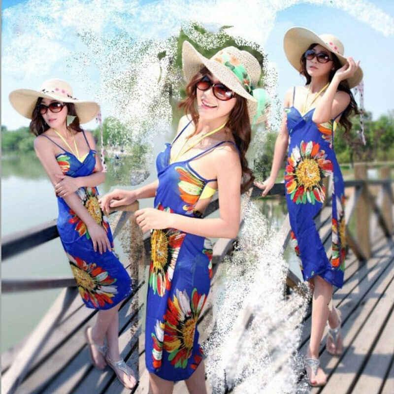 Kadın Yaz Pareo Elbise Sarong Plaj Bikini Mayo Kapak Up Baskılı Boho Eşarp Wrap