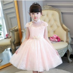 Image 3 - 2019 Summer Elegant Sweet Pink Children Girls Luxury Embroidery Lace Birthday Wedding Party Princess Ball Gown Dress Clothes
