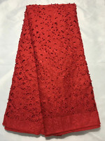 AL15 Free Shipping 5yards Pc Red Latest Laser Cut Nigerian Lace Fabric Swiss Lace Fabric Sbeaded