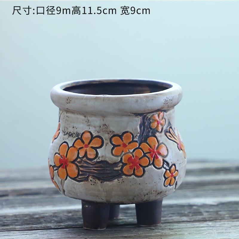 mão simples cerâmica com pés vasos de