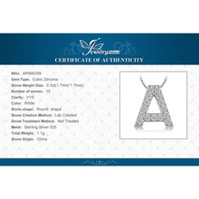 "Letter ""A"" Initial 0.38ct Cubic Zirconia Pendant For Women Real 925 Sterling Silver Jewelry Not Include A Chain"