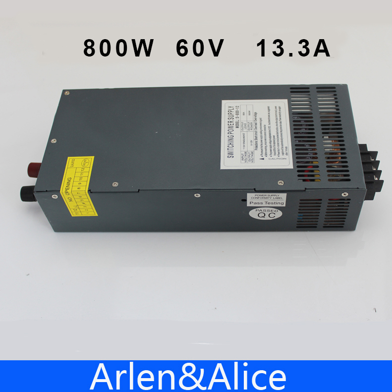 800W 60V 13.3A Single Output Switching power supply AC to DC 110V or 220V 1pcs lot sh b17 50w 220v to 110v 110v to 220v