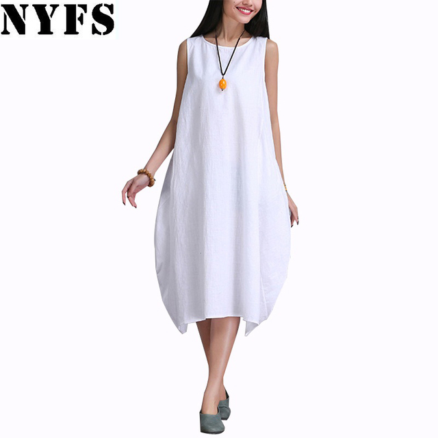 2017 New Summer dress Fashion women Clothing Loose Plus Size sleeveless Dress Casual Cotton Linen Sundress Vestidos Robe