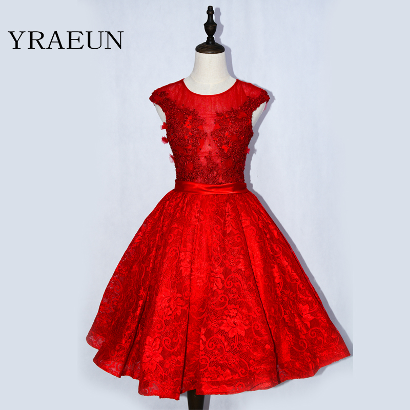 lovely red   cocktail     dresses   2019 o neck appliques lace beaded knee lenght girl coctail gown for formal prom party