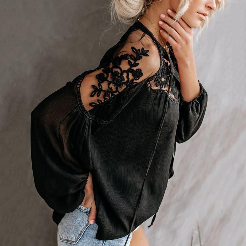 2019 Chiffon Blouses V-Neck Casual Lace Mesh Stitching long sleeve Women's Lanern Sleeve Blouses