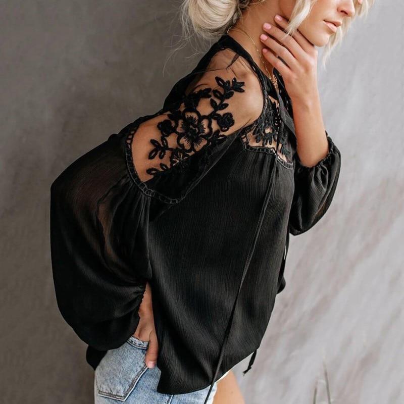 2019 Chiffon Blouses V-Neck Casual Lace Mesh Stitching long sleeve Women's Lanern Sleeve Blouses