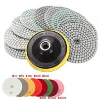 9pcs Smooth Wet Dry Diamond Polishing Pads 4 Inch 100 Mm Set For Granite Concrete Travertine