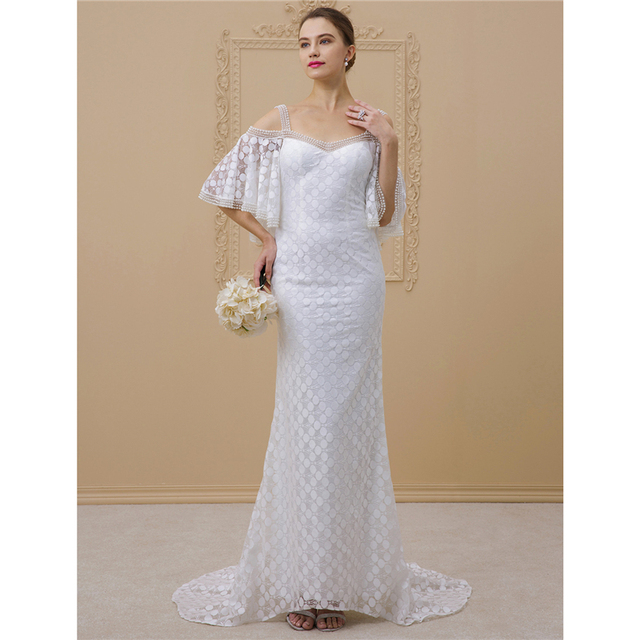 Lan Ting Bride Sheath Column Wedding Dress Half Sleeves Strapless Chapel Train Lace Bridal Gown