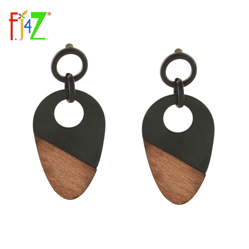2017 Nova Modna Dizajner Unikatna Leptira Mat crna crna Smeđe drvene naušnice u obliku jajeta za žene Brincos Bijoux