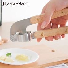 LANSKYWARE 304 Stainless Steel Garlic Press With Wooden Handle Crusher Cutter Ginger Slicer Kitchen Accessories