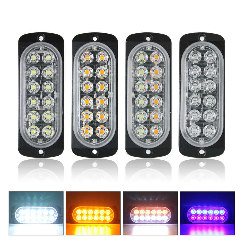 2pcs Ultra Thin 12 LED Strobe Car Truck Tailer Lorry Bus Side Marker Lights 12V 24V Auto Flashing Warning Lamp Turn Signal