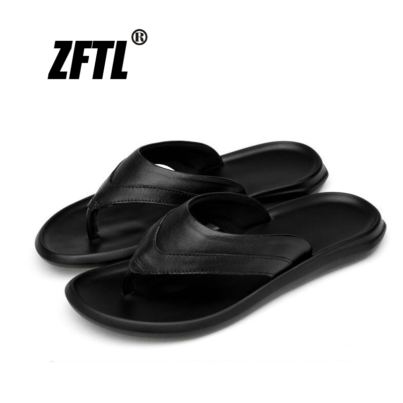 ZFTL New Men flip flops genuine leather male big size beach slippers Soft sole Non-slip wear-resistant trend men  079