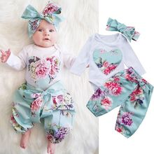 Newborn Baby Girls Clothes Kids Floral Floral Heart Bobysuit Bow Pants Cute Headband Infant Toddler Girl 3PCS Clothing Sets