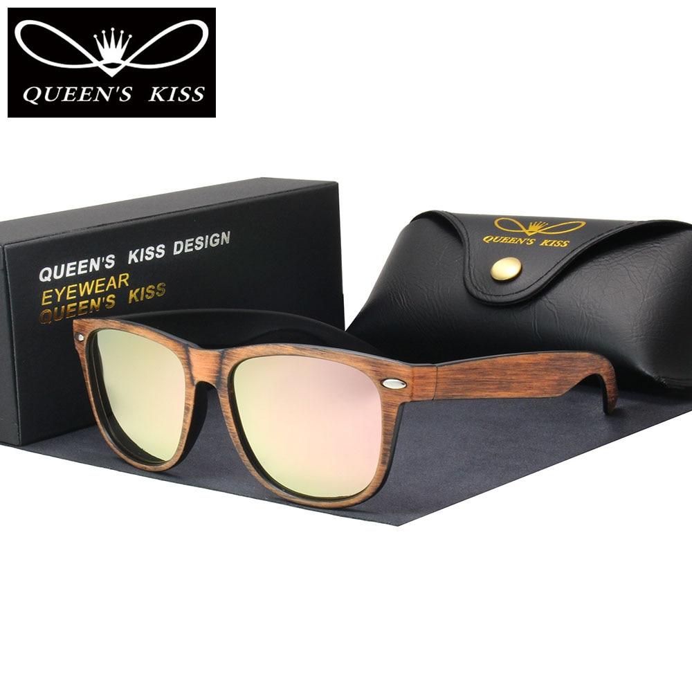 Queens поцелуй новая классика моды дерево поляризованные солнцезащитные очки мужские и женские Ретро Винтаж Красочные Солнцезащитные очки во...