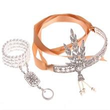 The Great Gatsby Bridal Hair Accessories Crystal Pearl Tassels Hair Headbands Hair Jewelry Wedding  Crowns
