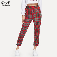 Dotfashion Red Plaid Pocket Detail Warm Pants Casual Winter Clothing Trousers Women 2019 Autumn Fashion New Womens Bottoms Pants