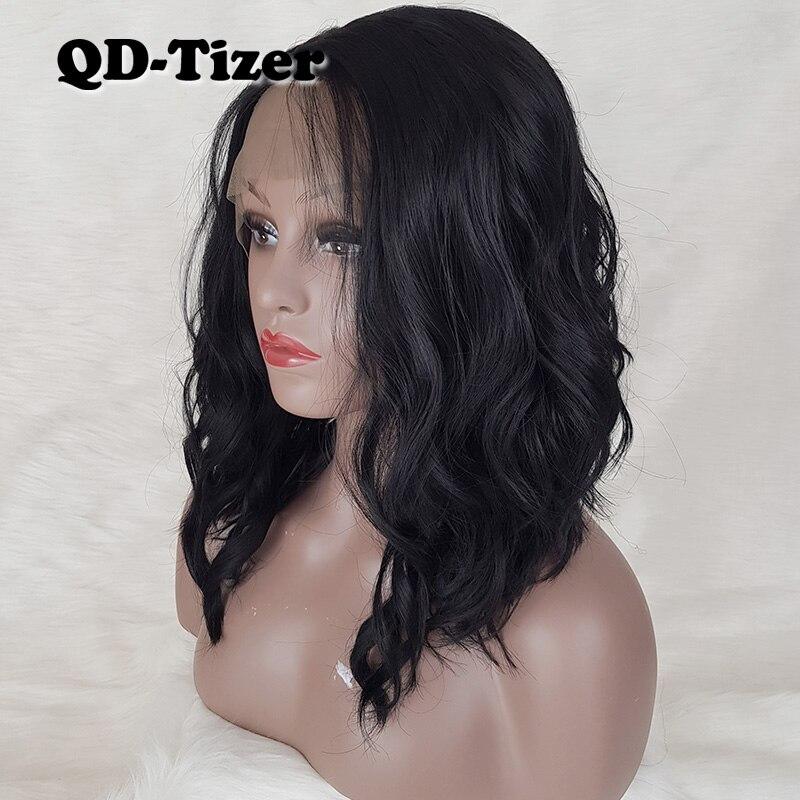 Qd-tizer doux Bob cheveux courts synthétique dentelle avant perruque vague lâche résistant à la chaleur fibre pleine perruques cheveux noirs pour les femmes