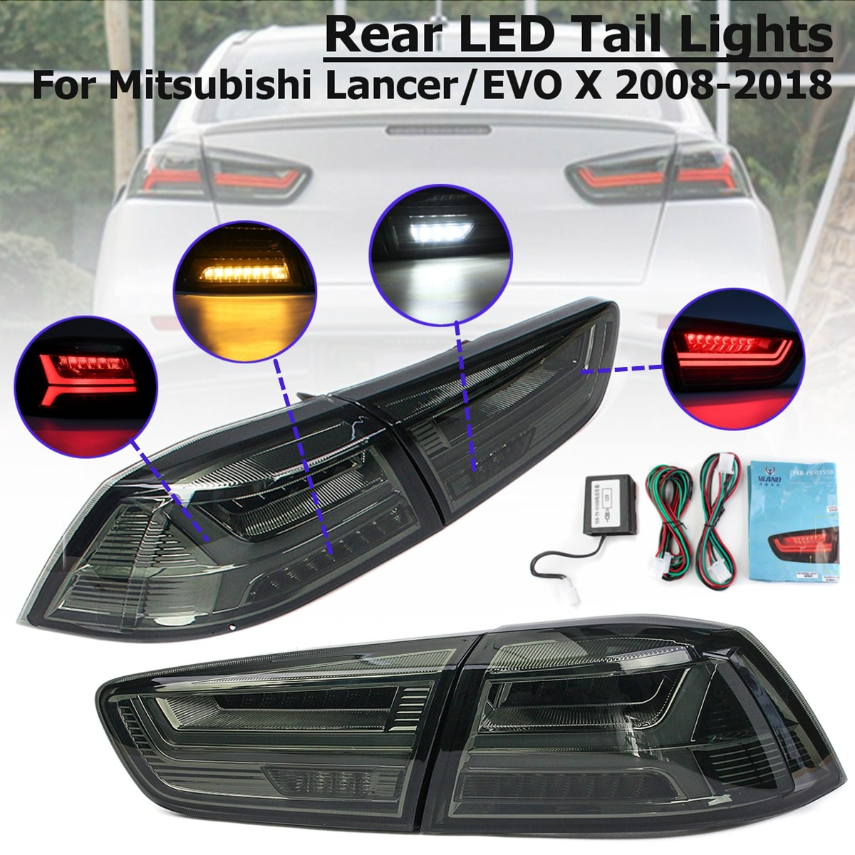 1 Pair Rear LED Tail Brake Light Lamps for Mitsubishi Lancer/EVOx2008-2017 Tail Light Signal LED DRL Stop Rear Lamp Accessories free shipping led tail lamps assy bm style light bar rear lamps tail lights fit for hyundai elantra 2012 2015