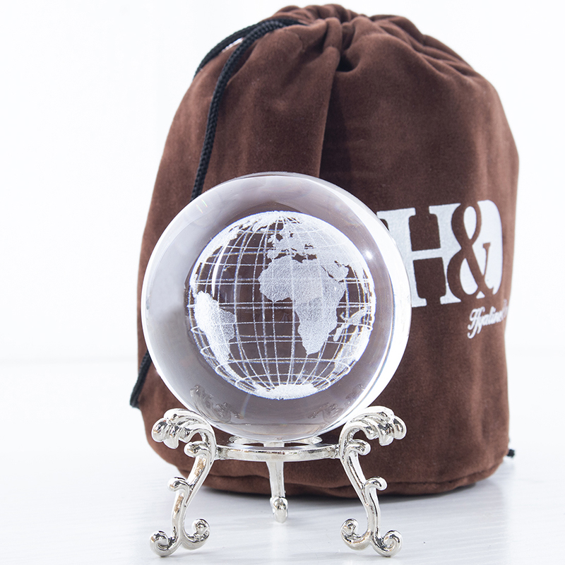 3D Crystal Ball with Laser-Engraved Globe