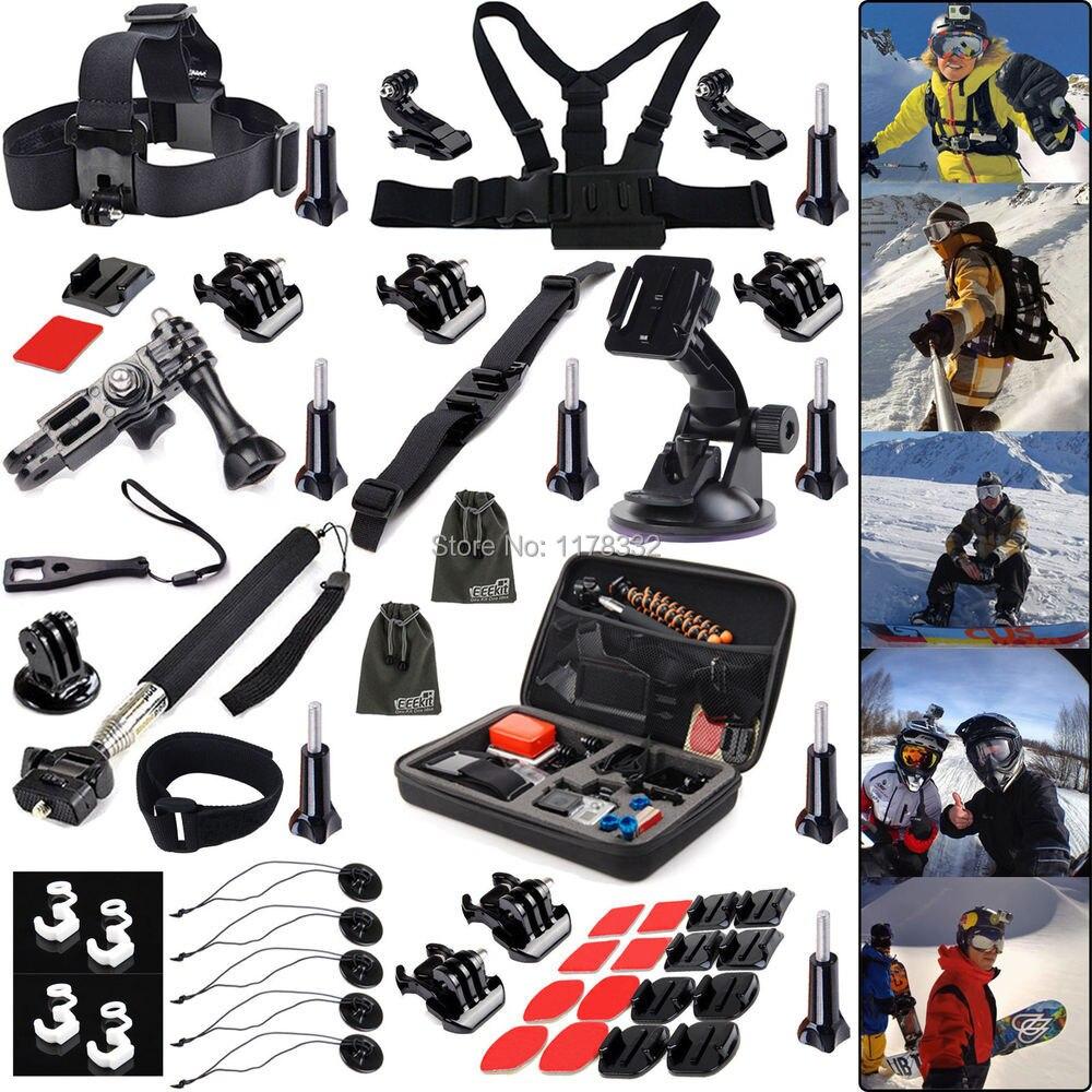45IN1 Winter Sports Accessories Kit for Gopro Hero4 Black/Silver HD 3+ 3 2 1  Tripod Mount /Monopod/ Chest Belt Strap/J-Hook