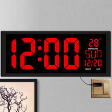 "TXL חדש אדום LED קיר שעון, שולחן שעון, שימוש כפול משרד דקור USB מודרני עיצוב בית גדול שעונים ספרות גדולה האיחוד האירופי/ארה""ב תקע חשמל"