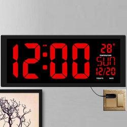 TXL Nuevo rojo Reloj de pared led de reloj dual-Decoración de oficina USB diseño moderno casa Relojes grandes grande dígitos UE/potencia para USA macho
