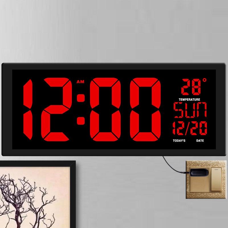 TXL New Red LED Wall Clock, Table Clock, Dual-use Office Decor USB Modern Design Home Large Clocks Big Digits EU/US Power Plug