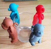 Cute Monkey Shape Silicone Tea Strainer Infuser Bag Loose Leaf Strainer Bag Mug Filter Friends Applied