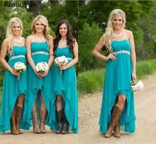 Country Chiffon Bridesmaid Dresses 2019 Sweetheart Peplum High Low Cheap Teal Turquoise Beach Wedding Guest Party Gowns Custom