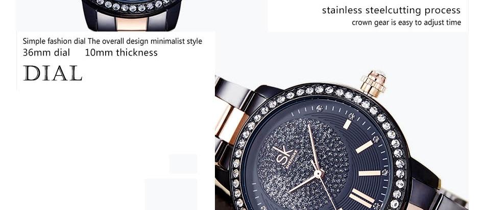 Shengke Rose Gold Watch Women Quartz Watches Ladies Brand Crystal Luxury Female Wrist Watch Girl Clock Relogio Feminino