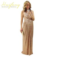 Stunning 2015 Long Floor Length A Line V Neck Sleeveless Sequins Maid Of Honor Gold Blingbling
