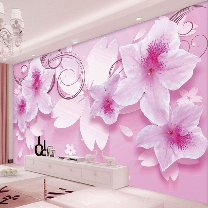 ᗗ3D HD Stereoscopic Pink Flowers Custom High Quality Mural ...