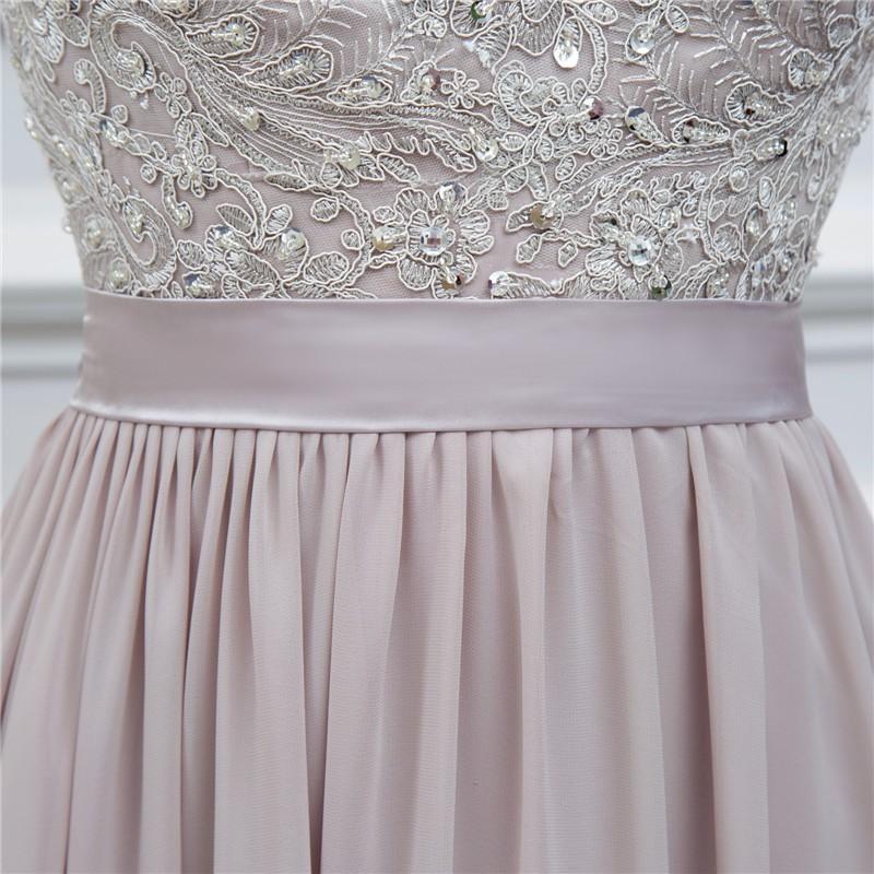 silver grey cap sleeve high quality applique floor length long chiffon bridesmaid dress wedding event dress maid of honor 7