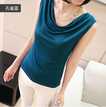 new 100% mulberry silk women shirts loose vest large brimmed vest silk knitted blouse t-shirt Pure Silk Cowl collar vest-b180-1