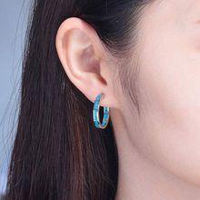1 Pair Blue Opal Huggie Hoop Earrings Hypoallergenic for Women