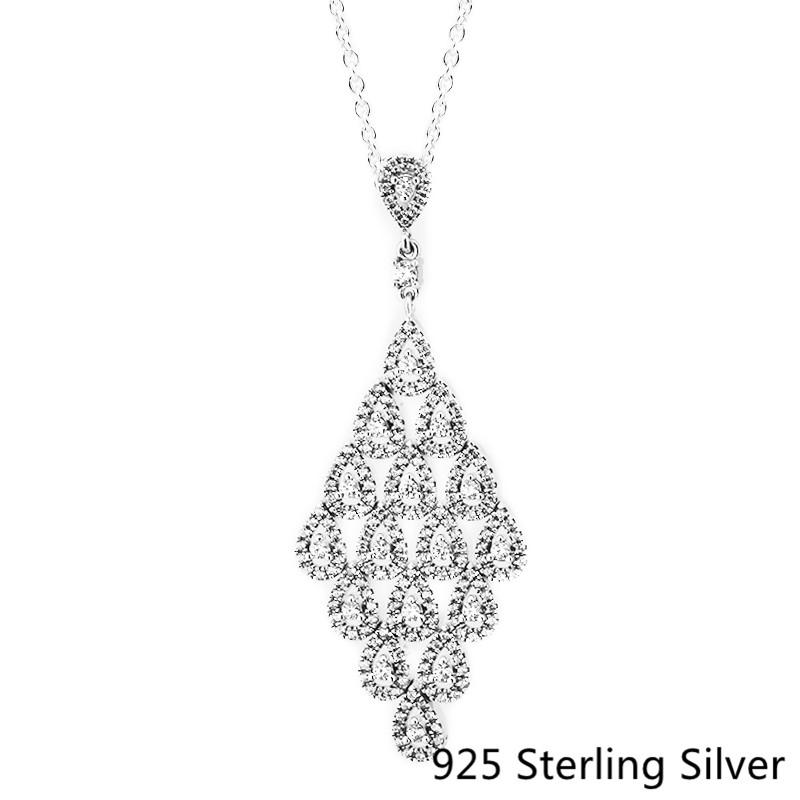 CKK 925 Sterling Silver Cascading Glamour Necklace Pendants For Women Original Fashion Jewelry MakingCKK 925 Sterling Silver Cascading Glamour Necklace Pendants For Women Original Fashion Jewelry Making