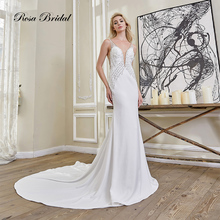 Rosabridal  2019 new Mermaid Wedding Dress real work Deep V-neck nail beading crystal backless sexy Trumpet bridal gown