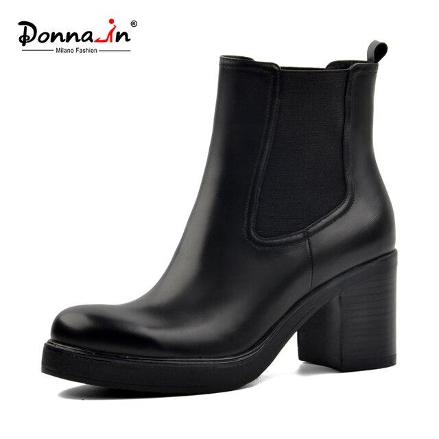 Donna-в натуральная кожа зимние сапоги натуральная шерсть меховой стелькой зимние ботинки обувь на платформе Обувь на высоком каблуке Ботильоны челси