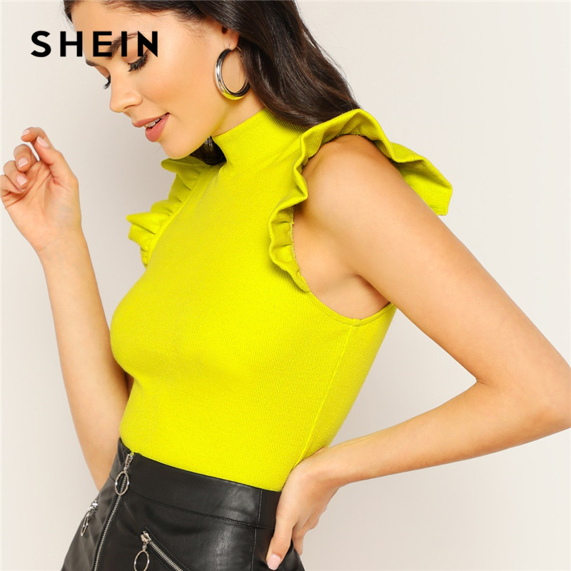 SHEIN Mustard Solid Neon Lime Mock-neck Ruffle Armhole Rib-knit Tee Elegant Women Summer Stand Collar Slim Fit T-shirt Tops