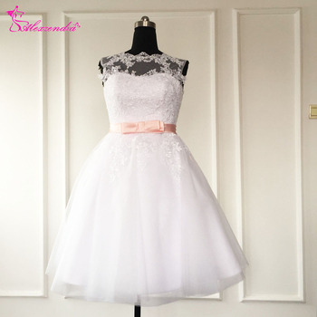 Real Photos Sexy Illusion Back A-Line Bridal Gown Knee Length Appliques O-Neck Short Cap Sleeves Short Wedding Dresses