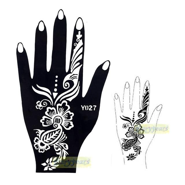 1pc New Fashion Mehndi Henna Glitter Tattoo Stencil Large Black ...