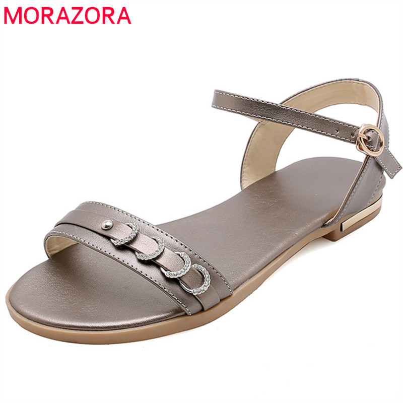 MORAZORA 2019 new arrival summer shoes woman casual beach shoes crystal buckle flat shoes ladies genuine leather sandals women MORAZORA 2019 new arrival summer shoes woman casual beach shoes crystal buckle flat shoes ladies genuine leather sandals women