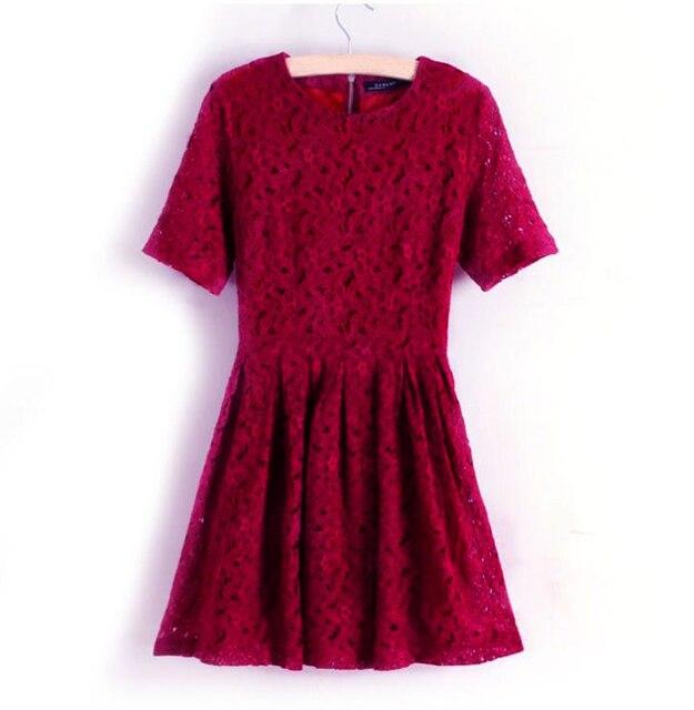 Elegant Women Lace Dress Floral Lace Short A-line Dress Wine Red One-piece  Party Prom Slim Skater Dress Burgundy Vestidos 2019 99c4526bb