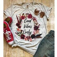 good vibes shirt mom shirts blessed women t-shirts thankful tee gothic top womens fashion female floral print thanksgiving