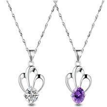 Top Quality From Swarovski Fashion Crown Amethyst Pendant Necklace for Women Retro Vintage Classic Silver Plated Cubic Zircon